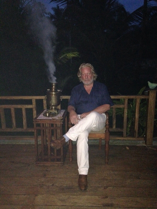 My samovar fired up in Sri Lanka, using dried coconut shells as fuel. The water tastes sweet as a result