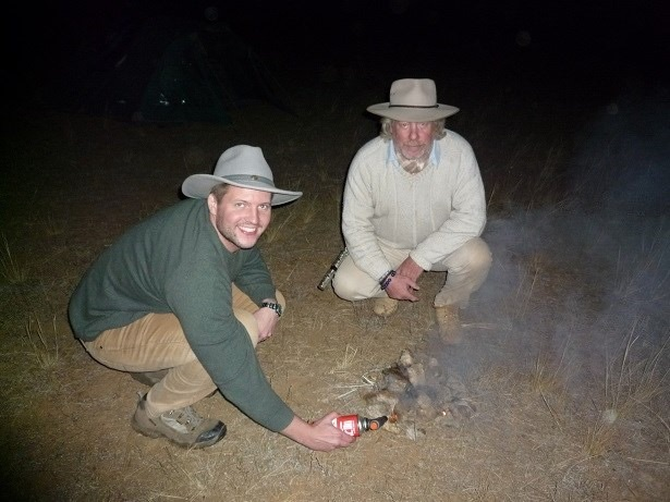 The Author, and a Friend Making a Sheep Poo Fire In the Gobi