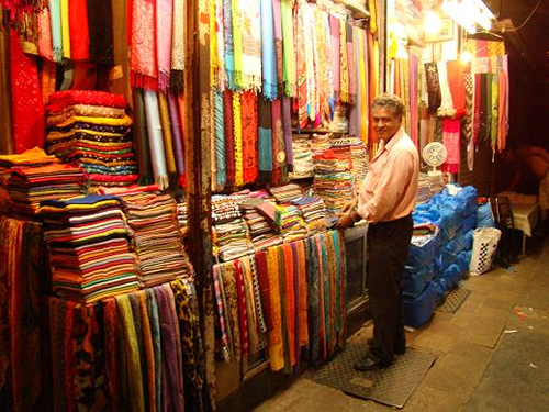 Fabric seller, from silks to pashmina. A family business for over 40 years.
