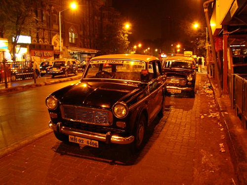 Bombay Taxis. The old Fiat 126, which is being phased out and will soon disappear.